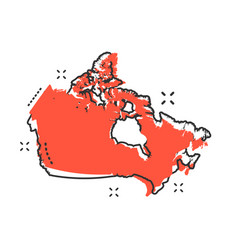 cartoon canada map icon in comic style canada vector image