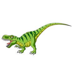 Cartoon green dinosaur on white background vector
