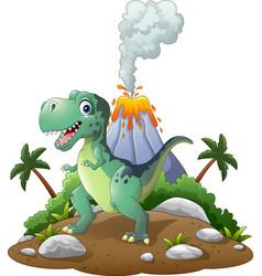 cartoon happy dinosaur in the prehistoric backgrou vector image