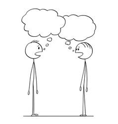 Cartoon of two men conversation with empty speech vector