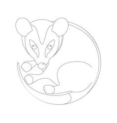 Cartoon opossum lining draw vector