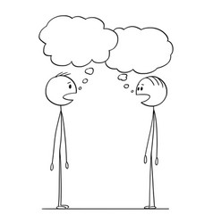 Cartoon two men conversation with empty speech vector