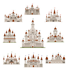 Castle or medival fairy tale fortress icons vector