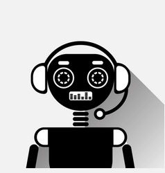 Chatbot icon concept black chat bot or chatterbot vector