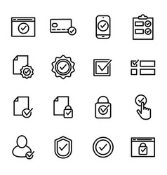 check mark signs black thin line icon set vector image