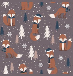 christmas seamless pattern with warm fox vector image