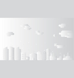cityscape with clouds paper art style vector image vector image