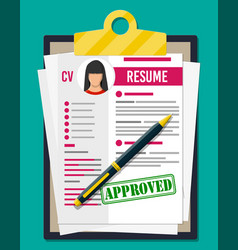 Clipboard with job application and pen vector