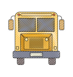 color crayon stripe image of front view school bus vector image