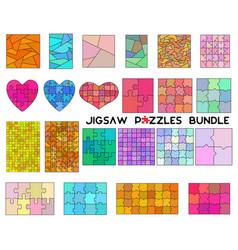 color jigsaw puzzles bundle simple line art style vector image