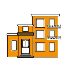 Color silhouette cartoon yellow facade comfortable vector