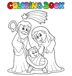 Coloring book nativity scene 1 vector