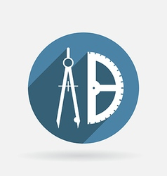 Compass and protractor Circle blue icon with vector