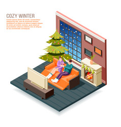 cozy winter isometric composition vector image