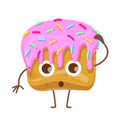 Cupcake with topping confused cartoon character vector