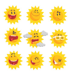 Cute cartoon sun emojis emotional face set of vector