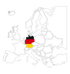 detailed germany silhouette with national flag on vector image