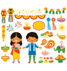 Diwali clipart set vector