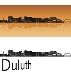 Duluth skyline in orange background vector