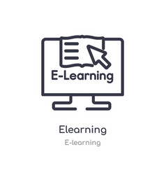 Elearning outline icon isolated line from vector