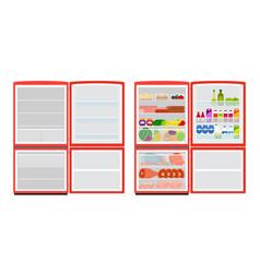 Empty and full fridge red refrigerator vector
