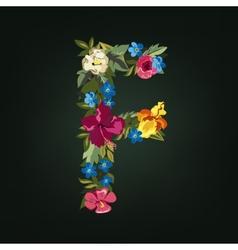 F letter Flower capital alphabet Colorful font vector