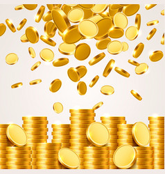 falling from the top a lot of coins vector image