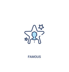 Famous concept 2 colored icon simple line element vector