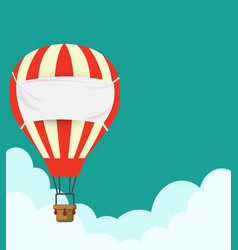 flat design hot air balloon in the sky with cloud vector image