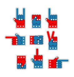 foam finger usa patriot american hand symbol vector image