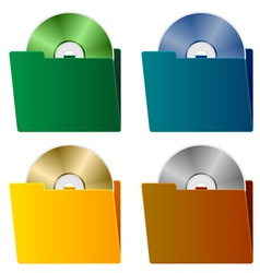 Folders with cd vector