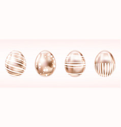 four glance metallic eggs in pink color vector image
