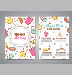 Good morning slogan on brochure breakfast menu vector
