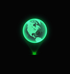 green world map global hologram vector image