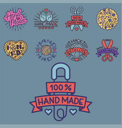 Handmade needlework craft badges sewing fashion vector