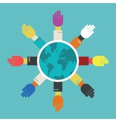 hands around the globe vector image