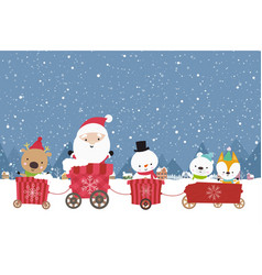Happy cute santa snowman christmas cartoon in the vector