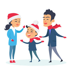 happy family in warm clothes on white background vector image