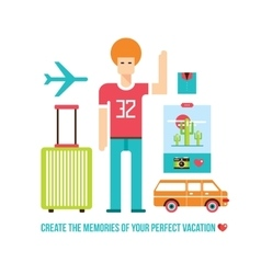 Happy young hipster male Summer trip Travel vector image