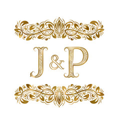 J and p vintage initials logo symbol letters vector