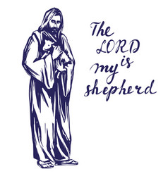 Jesus christ son of god holding a lamb in his vector