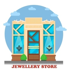 Jewelry shop or store with ornaments on maneken vector