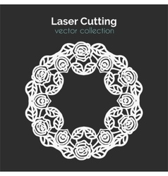 Laser Cutting Template Round Card with Roses vector