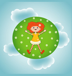 Little red-haired girl summer green sunny meadow vector