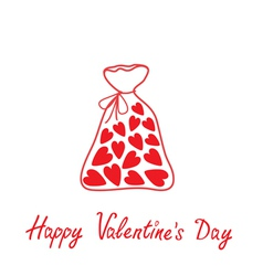 Love bag with hearts happy valentines day vector