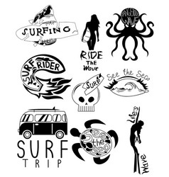 Main surfboard set retro car board shark waves and vector
