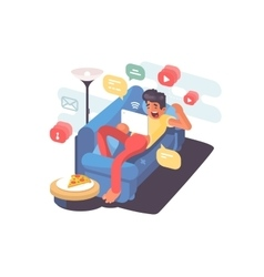 Man lying on couch with tablet vector image