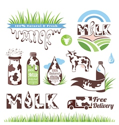 Milk and creamery badges vector image