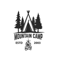 Mountain camp emblem template camping tent with vector