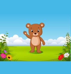 natural view with a little brown bear vector image